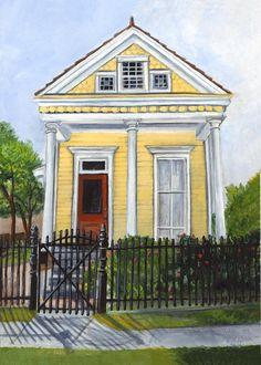 colored drawing of yellow house with a red door and black fence in front
