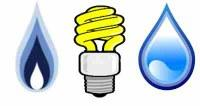 graphic of water drop, light bulb, and a flame