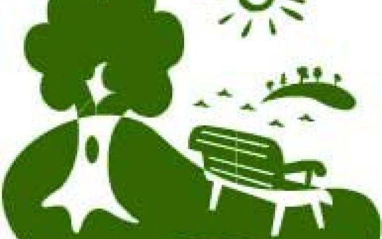 Green Colored Cartoon Graphic of park with a bench and a tree